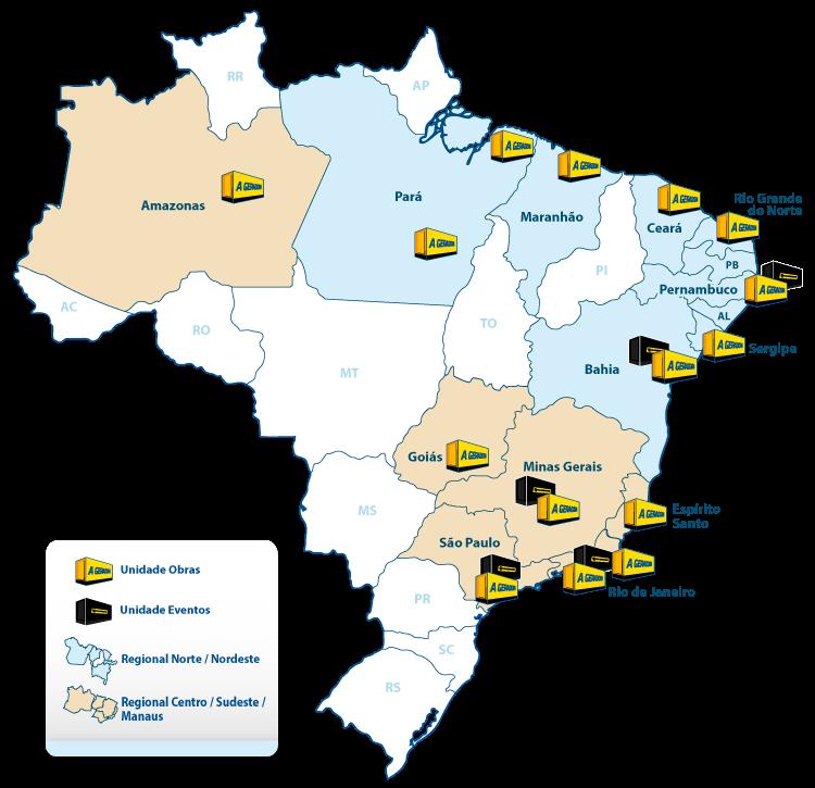 Mapa atuação A Geradora