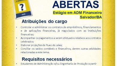 Estágio Administrativo financeiro